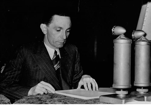 Minister of propaganda of the Third Reich, Joseph Goebbels gives a New Year's Eve radio speech to the German nation, December 31st 1939 (NAC)