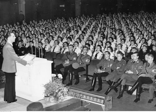 "Minister of propaganda of the Third Reich, Joseph Goebbels gives a speech at Ufa-Palast during the ""Youth film days"", November 1939 (NAC)"