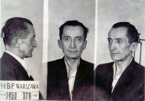 Zdjęcia sygnalityczne Augusta Emila Fieldorfa zaresztu MBP przy ul. Koszykowej, 1950 r. Fot. AIPN