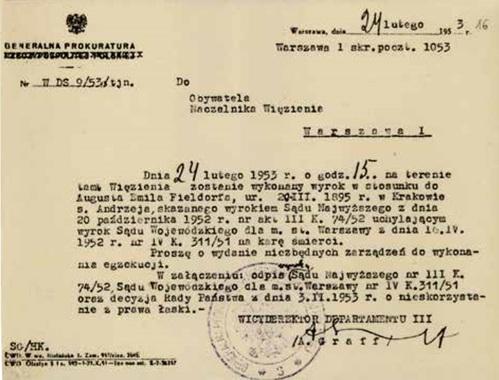 Pismo Alicji Graff zGeneralnej Prokuratury ws. wydania zarządzenia do wykonania egzekucji. Fot. AIPN