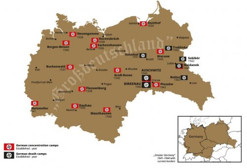 Major German concentration and death camps within the so-called Greater Germany in 1941-1944