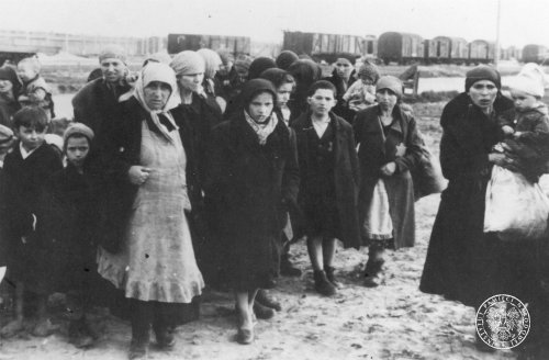 A group of women and children, having arrived to KL Auschwitz-Birkenau, sent to the crematorium after selection, May 1944 Photo: AIPN