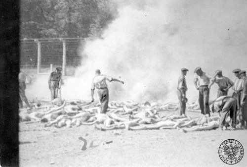 Burning of bodies of gassed victims in Birkenau, August 1944 Photo: AIPN