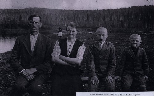 Zaremba family in Siberia, 1940 Photo: Śląska Biblioteka Cyfrowa