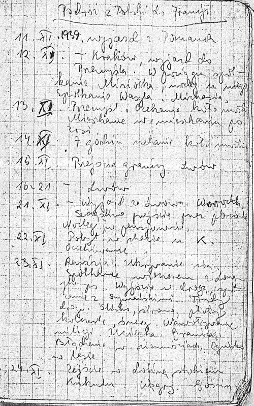 First page of Anna Świeżawska's journal (a copy from author's private collection)