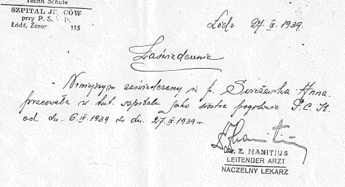 Certificate from a military doctor from Łódź for Anna Świeżawska (a copy from author's private collection)