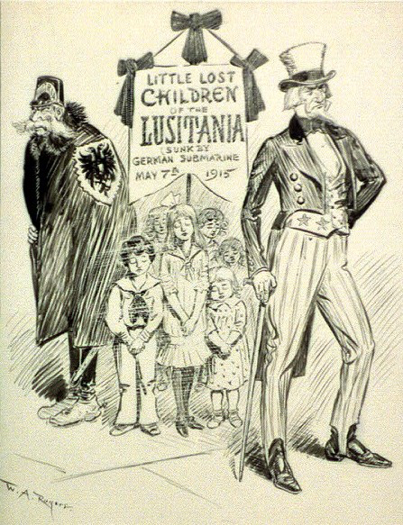 "American caricature created after the sinking of the ""Lusitania"" steamship, referring to the voices of the supporters of the USA joining the war who accused president Wilson of indifference to the tragic fate of the victims of the torpedoing of the ship"
