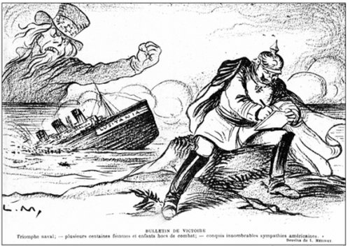 "French caricature created after the sinking of the ""Lusitania"" steamship, symbolising the American anger reaching across the Atlantic"