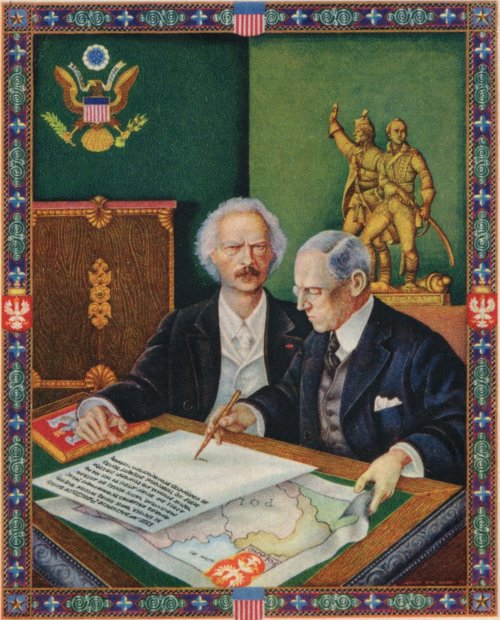 Postcard from 1939 with a drawing by Artur Szuk picturing Ignacy Jan Paderewski's influence on president Wilson's decision to raise the postulate about the rebirth of Poland in his speech from January 8th 1918 (from the collection of the Józef Piłsudski Institute in New York City)
