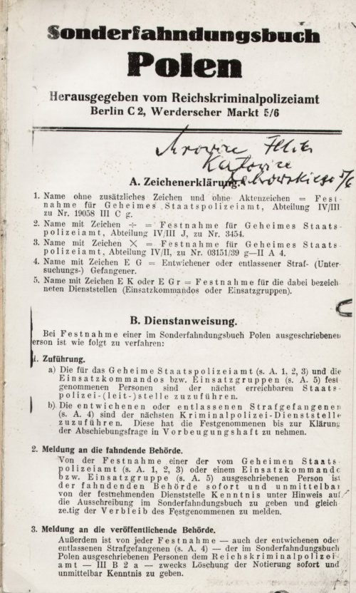 Special Wanted Book for Poland - Sonderfahndungsbuch Polen. From collections IPN Katowice