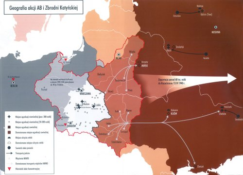 "Geography of the Katyń Crime (and the simultaneous German-Aktion AB). From the website ""katyn.ipn.gov.pl"""