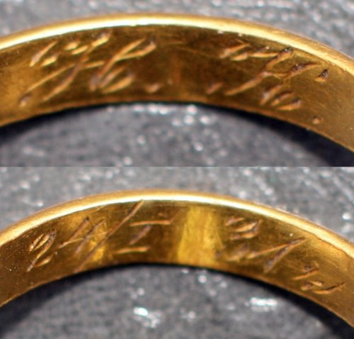 "Bykownia - Stalinist Crimes' Victims' Cemetery. Golden wedding ring found during the 2007 research with an engraved inscription ""H.K.24/I 31"" - grave no. 145/06. Photo: D. Siemińska, A. Kuczyński"