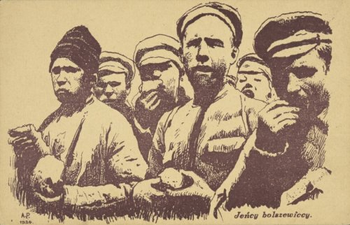 "A postcard ""Bolshevik prisoners"", 1920. ""Co-author: A P Author of the pattern"" (from the description of the National Library). From the digital archives of the National Library (""polona.pl"")"