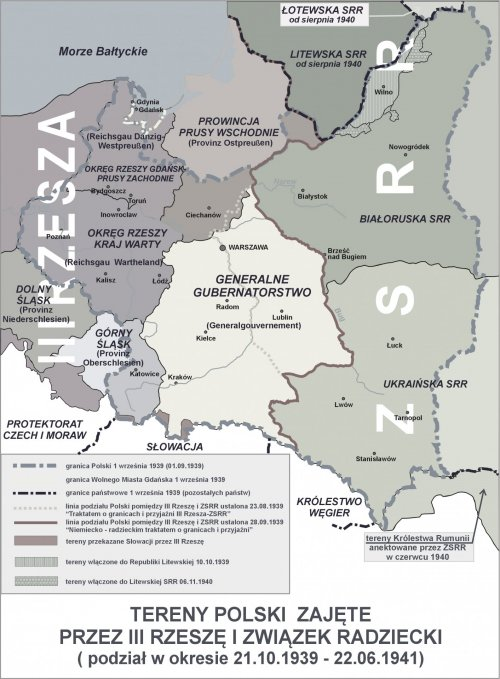 Polish lands taken by the Third Reich and USSR (source: Wikipedia)