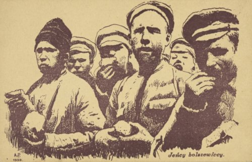 Bolshevik prisoners on a postcard from 1920 Photo from the collections of the National Library